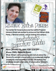 Flyer for event, Feminism's Identity Crisis, with blurb and photo included.
