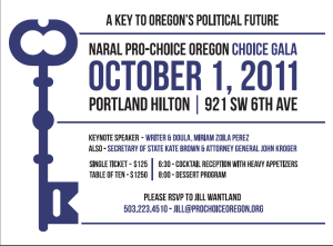 Invitation to NARAL Gala on October 1st
