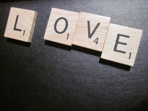 "Scrabble tiles spelling out ""love"""
